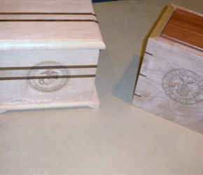TWO URN BOXES FOR VETERANS MADE BY TAMPA WOODWORKER CLUB