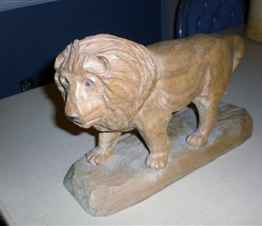 LION CARVING BY AL CARLSON
