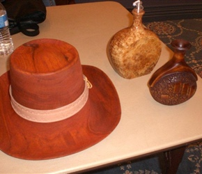 HAT, LAMP AND BUD POT BY TOM MILLER