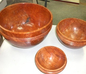 THREE BOWLS MADE FROM ONE BLOCK BY ART WORT