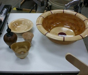 SEGMENTED BOWL LIDDED BOX WITH FINEAL AND SMALL BOWLS BY LARNIE CROS